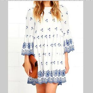 """NEW Lulu's """"With a Whisper"""" Embroidered Dress"""